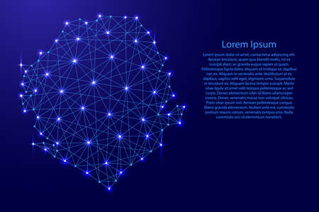 Map of Sierra Leone from polygonal blue lines and glowing stars vector illustration