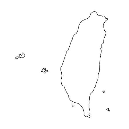 The Taiwan map of black contour curves of vector illustration