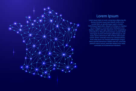 France map of polygonal mosaic lines, rays and space stars of vector illustration.