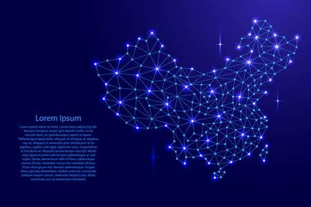 중국지도 다각형의 모자이크 라인 네트워크, 광선 및 별 벡터 일러스트 레이 션. 일러스트