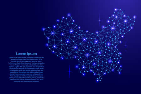 China map of polygonal mosaic lines network, rays and space stars of vector illustration.