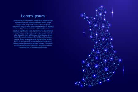 Finnland-Karte von polygonalen Mosaiklinien Netz, Strahlen und Raumsternen der Vektorillustration.
