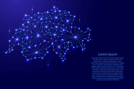 Carte de la Suisse du réseau de lignes de mosaïque polygonale, les rayons et les étoiles de l'espace de l'illustration vectorielle. Banque d'images - 81067849