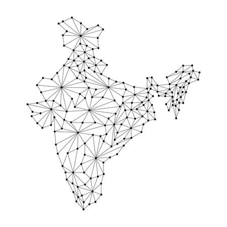 India map of polygonal mosaic lines, rays and dots vector illustration.