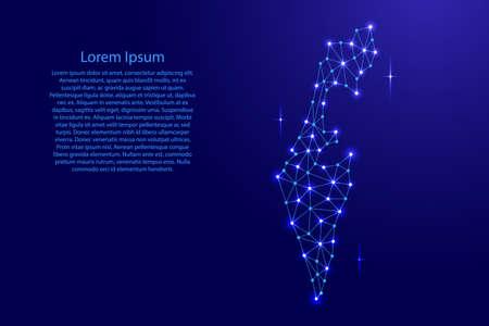 Israel map of polygonal mosaic lines network, rays and space stars of vector illustration. Vektoros illusztráció