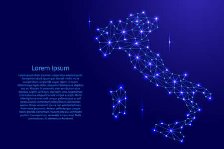 Italy map of polygonal mosaic lines network, rays and space stars of vector illustration.