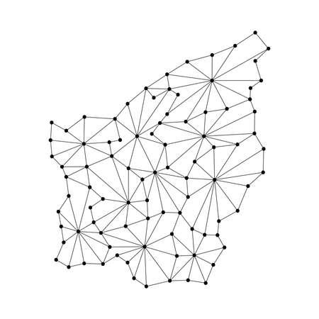 San Marino map of polygonal mosaic lines, rays and dots vector illustration.