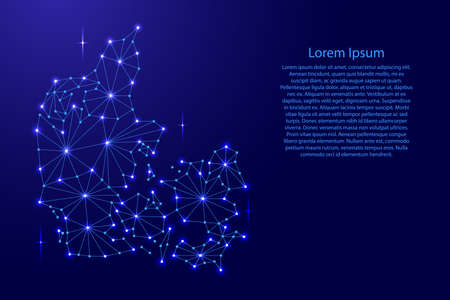 Denmark map of polygonal mosaic lines, rays and space stars illustration. Illustration