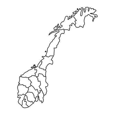 Norway Map Of Black Contour Curves Of Vector Illustration Royalty - Norway map fylke