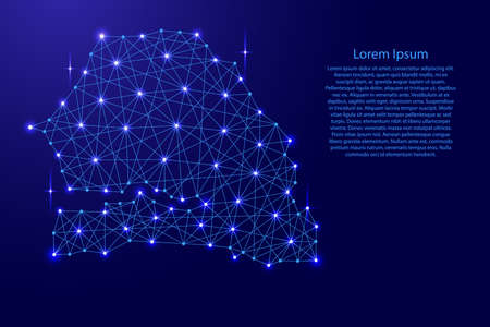 Map of Senegal from polygonal blue lines and glowing stars vector illustration.