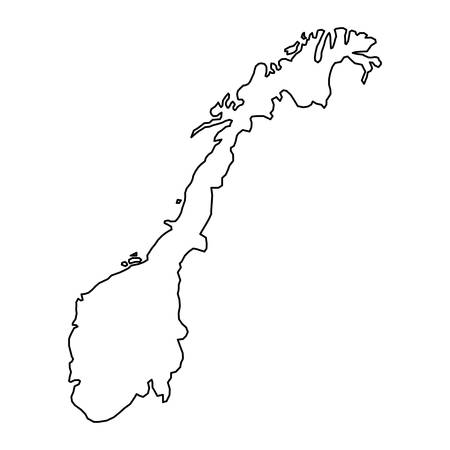 Norway map of black contour curves of vector illustration Illustration