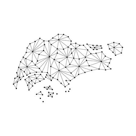 Singapore map of polygonal mosaic lines network, rays and dots vector illustration. Illustration