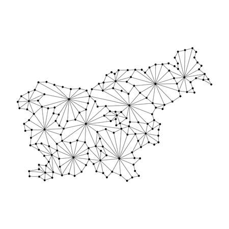 Slovenia map of polygonal mosaic lines network, rays and dots vector illustration.