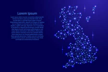 イギリス マップ多角形モザイク ライン ネットワーク、線と空間ベクトル図の星の。  イラスト・ベクター素材