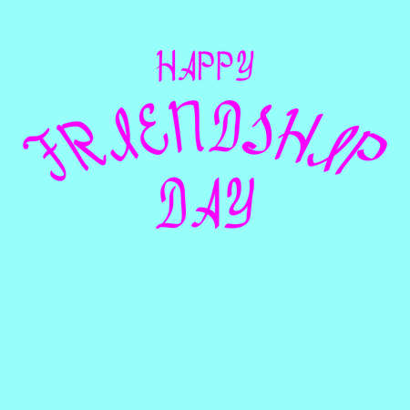 Happy friendship day brush lettering for greeting card, pink isolated on blue background of vector illustration.