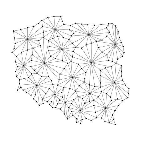 wroclaw: Poland map of polygonal mosaic lines network, rays and dots vector illustration.
