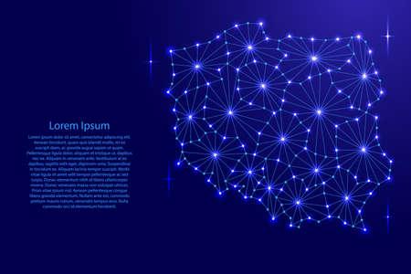 De kaart van Polen van het veelhoekige netwerk van mozaïeklijnen, stralen en ruimtesterren van vectorillustratie. Stock Illustratie