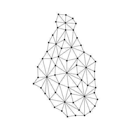 Montserrat map of polygonal mosaic lines network, rays and dots vector illustration.