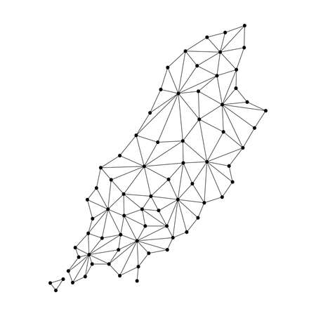 Isle of Man map of polygonal mosaic lines network, rays and dots vector illustration. Çizim