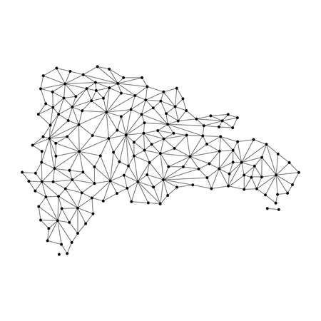 Dominican Republic map of polygonal mosaic lines network, rays and dots vector illustration. Vektoros illusztráció