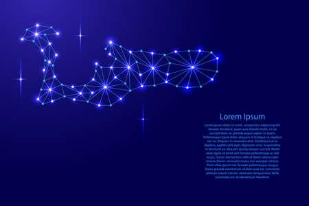 多角形モザイク ライン ネットワーク、線と空間ベクトル図の星のケイマン諸島の地図。