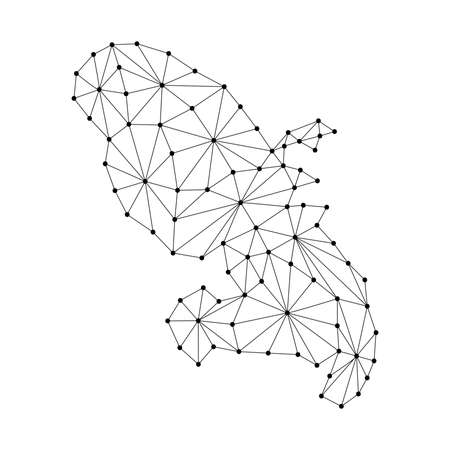 Martinique map of polygonal mosaic lines network, rays and dots vector illustration.
