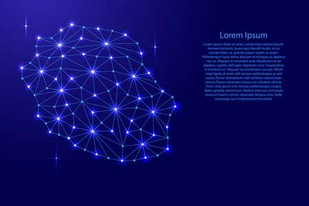 재결합 다각형 모자이크 라인 네트워크, 광선 및 별 벡터 일러스트 레이 션의.