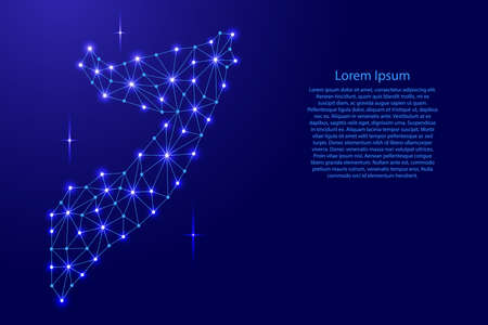 Somalia map of polygonal mosaic lines network, rays and space stars of vector illustration. Vetores
