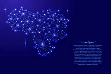 Venezuela map of polygonal mosaic lines network, rays and space stars of vector illustration. Ilustração