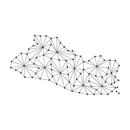 El Salvador map of polygonal mosaic lines network, rays and dots vector illustration. Ilustração