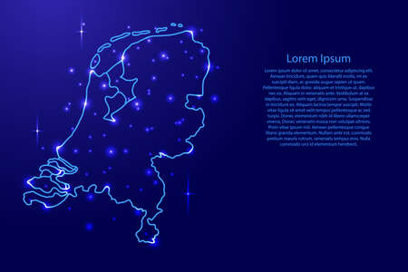 Map Netherlands from the contours network blue, luminous space stars of vector illustration Иллюстрация