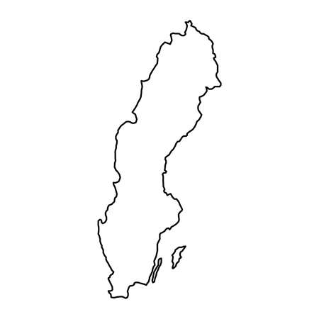 Sweden map of black contour curves of vector illustration
