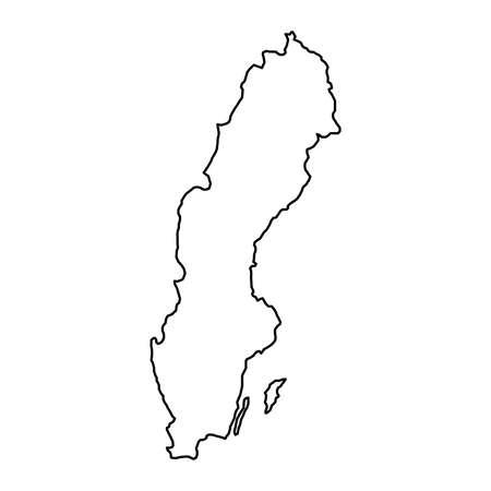 Sweden map of black contour curves of vector illustration