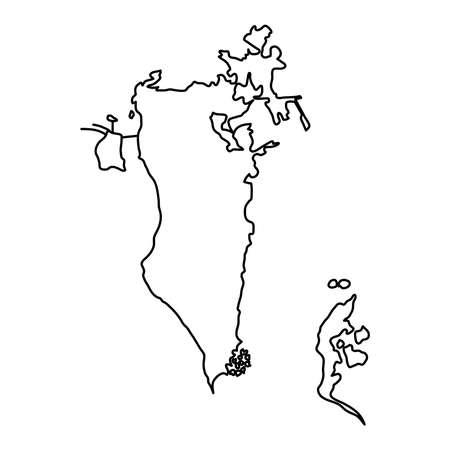 Bahrain map of black contour curves of vector illustration