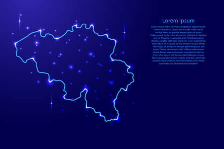 Map Belgium from the contours network blue, luminous space stars of vector illustration Иллюстрация