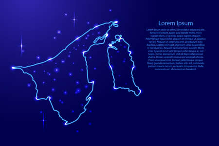 Map Brunei from the contours network blue, luminous space stars of vector illustration