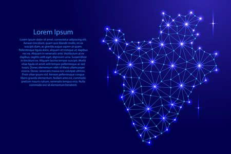 Burundi map of polygonal mosaic lines network, rays and space stars of vector illustration. Иллюстрация