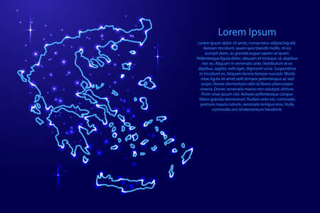 Map Greece from the contours network blue, luminous space stars of vector illustration Иллюстрация