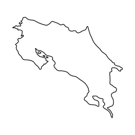 Costa Rica map of black contour curves of vector illustration Illustration