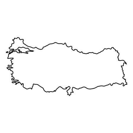 Turkey map of black contour curves of vector illustration
