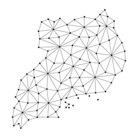 Carte de l'Ouganda du réseau de lignes de mosaïque polygonale. Vecteurs