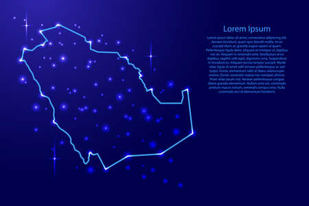 Map Saudi Arabia from the contours network blue, luminous space stars of vector illustration Illustration