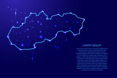 Map Slovakia from the contours network blue, luminous space stars of vector illustration Illustration