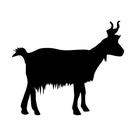 Black silhouette of mountain goat on white background of vector illustration Иллюстрация