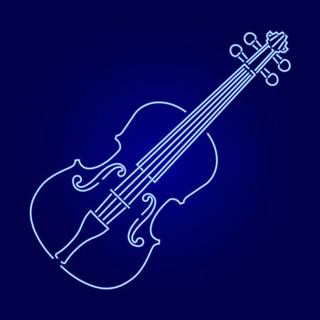 violin from glowing blue neon luminescence lines on dark background vector illustration