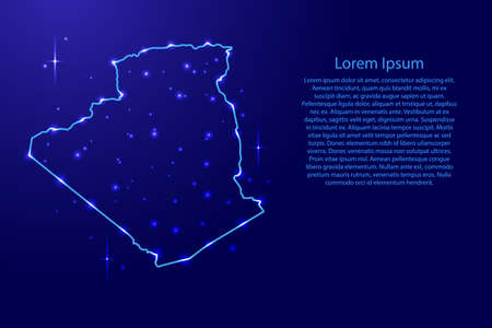 Map Algeria from the contours network blue, luminous space stars for banner, poster, greeting card, of vector illustration