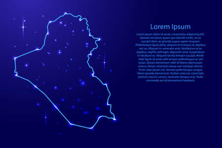 Map Iraq from the contours network blue, luminous space stars for banner, poster, greeting card, of vector illustration