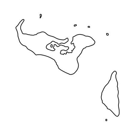 ベクトルイラストの白い背景に黒の輪郭曲線のトンガマップ