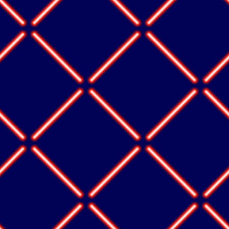 Seamless pattern from light neon red rays on a blue background, vector illustration.