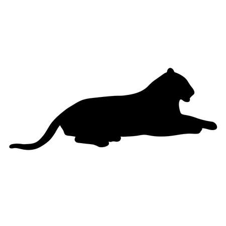 black silhouette of lying tiger on white background of vector illustration Vettoriali